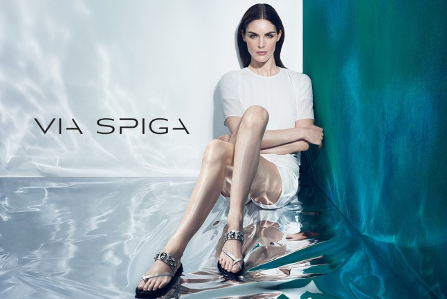 The Via Spiga Spring 2015 campaign featuring model Hilary Rhoda: Via Spiga Gwena leather sandal with jewel embellishments