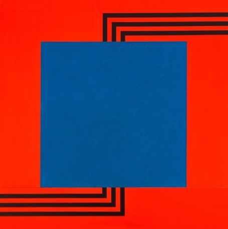 Peter Halley (b. 1953), Blue Cell with Triple Conduit, 1986. Acrylic and vinyl paint on canvas, two parts; 77 5/16 × 77 1/4 × 3 1/4in. (196.4 × 196.2 × 8.3 cm). Whitney Museum of American Art, New York; gift of Heather and Steven Mnuchin 2004.608a‑b. © Peter Halley