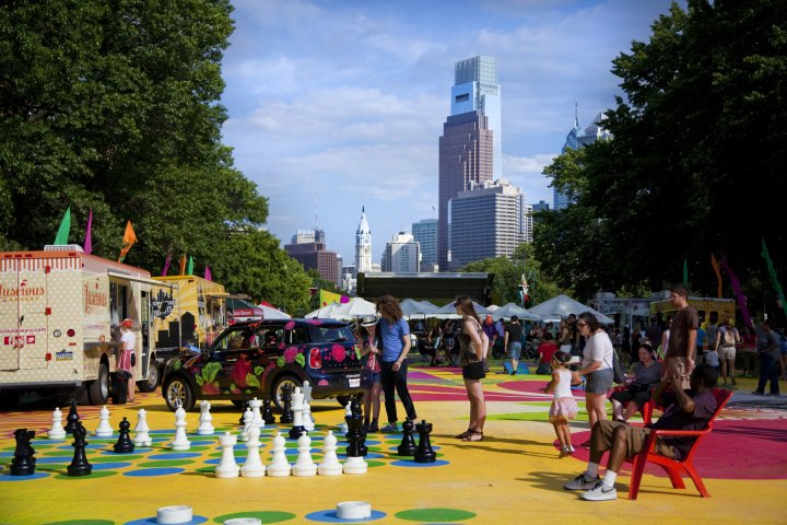 Back on the Benjamin Franklin Parkway for its second summer of outdoor fun, The Oval features food, musical performances, movies, mini golf and a beer garden on Wednesday through Saturday nights through August 16. The pop-up park is sandwiched between two spectacular views: the Center City skyline and the Philadelphia Museum of Art. Credit: Photo by M. Fischetti for VISIT PHILADELPHIA™