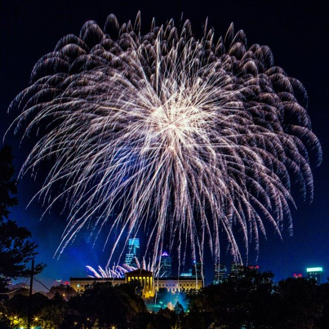 A highlight of Philadelphia's multiday Fourth of July celebration, the fireworks over the Philadelphia Museum of Art wow onlookers along the Benjamin Franklin Parkway and all over the city. In Fairmount Park, Lemon Hill is perfectly perched for optimal viewing, and those in the know head to the lesser-known spot to watch the dazzling show. Credit: Photo by J. Fusco for VISIT PHILADELPHIA™