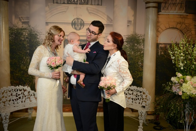 Priscilla Presley served as Matron of Honor for TODAY Show couple Kaycee Satava and Cameron Baker and their baby daughter Lucy in the first wedding held at Elvis Presley's Graceland Wedding Chapel.