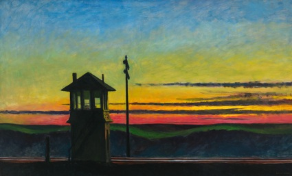 Edward Hopper (1882–1967), Railroad Sunset, 1929. Oil on canvas; 29 5/16 × 48 1/8 in. (74.5 × 122.2 cm). Whitney Museum of American Art, New York; Josephine N. Hopper Bequest 70.1170. © Heirs of Josephine N. Hopper, licensed by Whitney Museum of American Art, New York