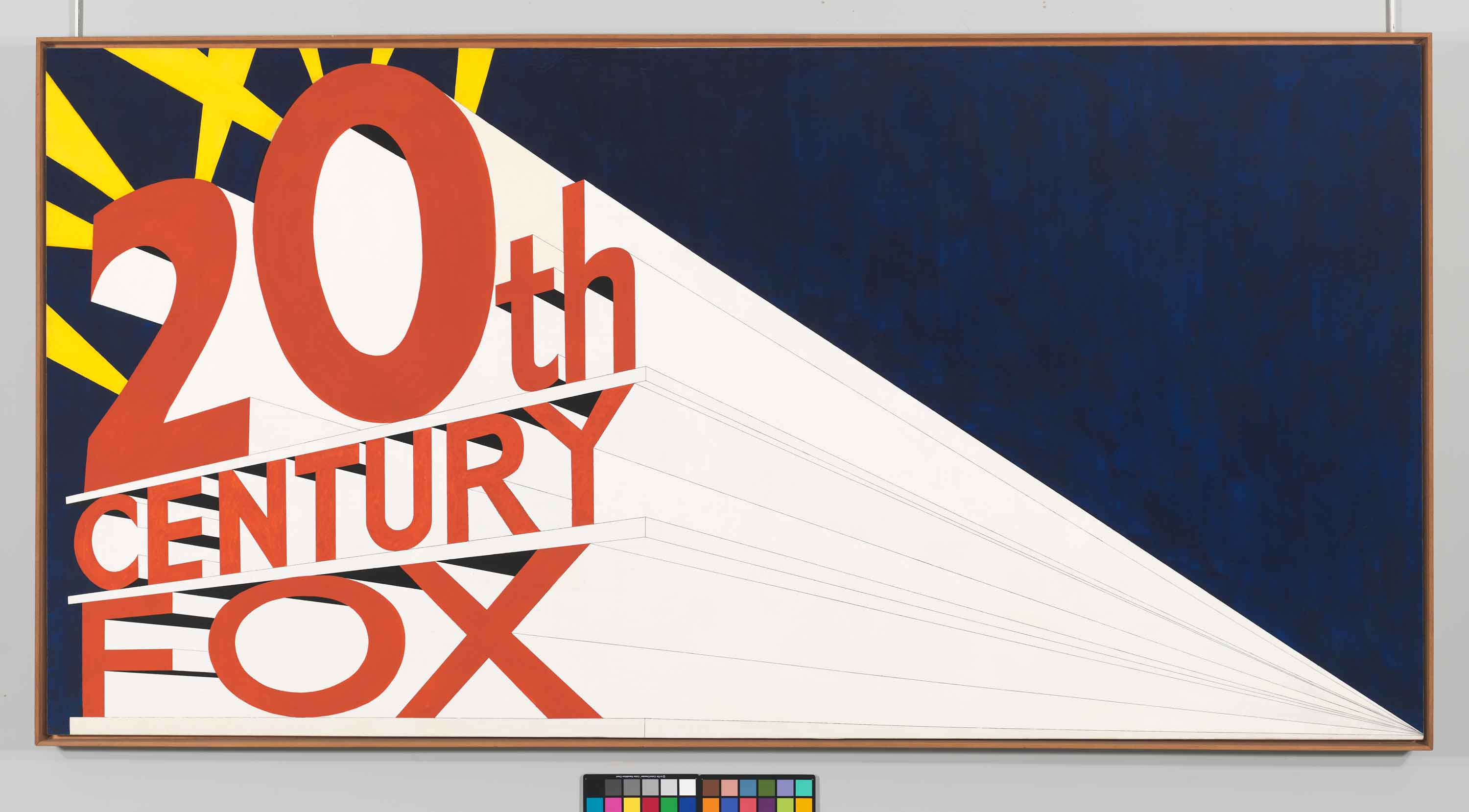 Edward Ruscha (b. 1937).  Large Trademark with Eight Spotlights, 1962.  	Oil, house paint, ink, and      graphite pencil on canvas, Overall: 66 15/16 × 133 1/8in. (170 × 338.1 cm).  	Whitney Museum of American Art,     New York; purchase, with funds from the Mrs. Percy Uris Purchase Fund  85.41  © Ed Ruscha