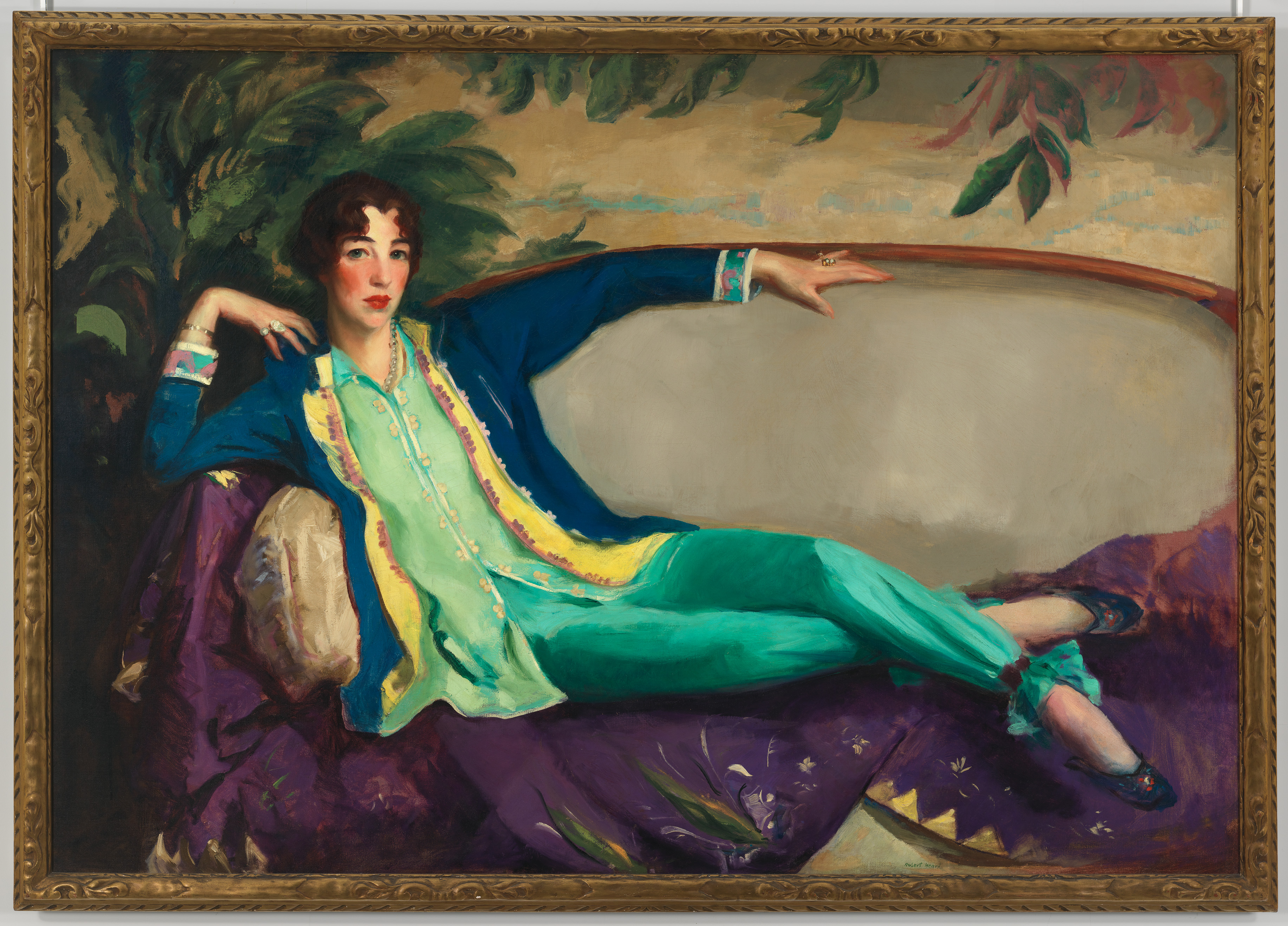 Robert Henri, 18651929 Gertrude Vanderbilt Whitney, (1916) 	Oil on canvas, Overall: 49 15/16 x 72in. (126.8 x 182.9 cm) 	Whitney Museum of American Art, New York; 	Gift of Flora Whitney Miller  86.70.3
