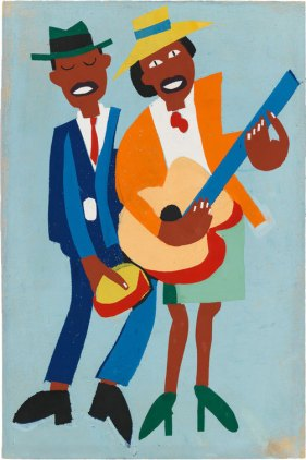 William H. Johnson (1901–1970), Blind Singer, c. 1942. Screenprint; 17 1/2 × 11 9/16 in. (44.5 × 29.4 cm). Whitney Museum of American Art, New York; purchase, with funds from the Print Committee 95.53