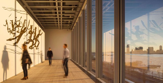 Running People at 2,616,216 (1978–79) by Jonathan Borofsky installed on the West Ambulatory, 5th floor, the inaugural exhibition, America Is Hard to See (May 1–September 27, 2015). Whitney Museum of American Art, New York. Photograph © Nic Lehoux