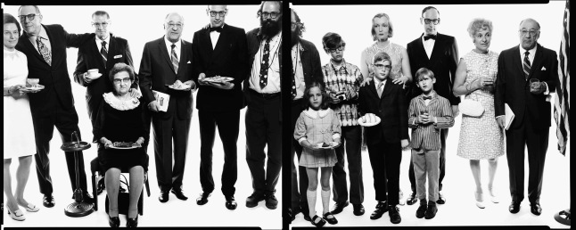 Pictured above: Allen Ginsberg's family: Hannah (Honey) Litzky, aunt; Leo Litzky, uncle; Abe Ginsberg, uncle; Anna Ginsberg, aunt; Louis Ginsberg, father; Eugene Brooks, brother; Allen Ginsberg, poet; Anne Brooks, niece; Peter Brooks, nephew; Connie Brooks, sister-in-law; Lyle Brooks, nephew; Eugene Brooks; Neal Brooks,nephew; Edith Ginsberg, stepmother; Louis Ginsberg, Paterson, New Jersey, May 3, 1970; Photograph by Richard Avedon;© The Richard Avedon Foundation; From the Collection of The Israel Museum, Jerusalem; Gift of the American Contemporary Art Foundation, Leonard A. Lauder, President, to American Friends of the Israel Museum.