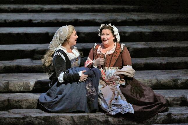Great Performances at the Met: Die Meistersinger von Nürnberg - Annette Dasch as Eva and Karen Cargill as Magdalene in Wagner's Die Meistersinger von Nürnberg. Photo: Ken Howard/Metropolitan Opera