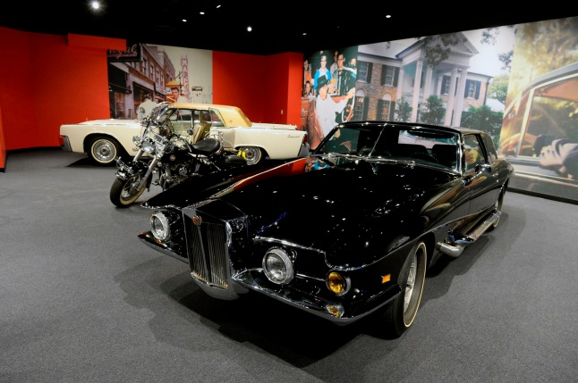 Guests to the Las Vegas exhibit can view can view cars from Elvis' collection including a 1957 Harley Davidson motorcycle, 1962 Lincoln Continental and the 1971 prototype Stutz Blackhawk.