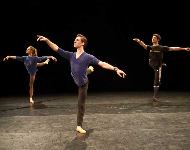 Isabella Boylston, Joseph Gorak and Thomas Forster executing a variation during class. Credit: Photo by George Seminara