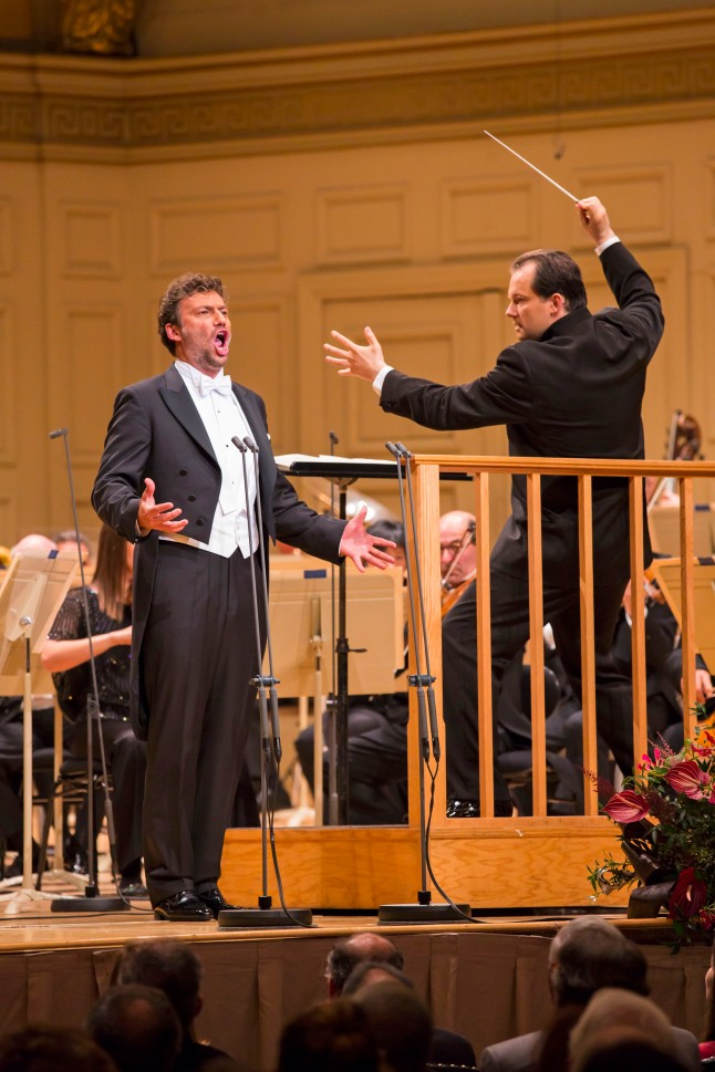 "Jonas Kaufmann and Andris Nelsons as seen in ""Great Performances – Boston Symphony Orchestra: Andris Nelsons Inaugural Concert."" Photo by Chris Lee"