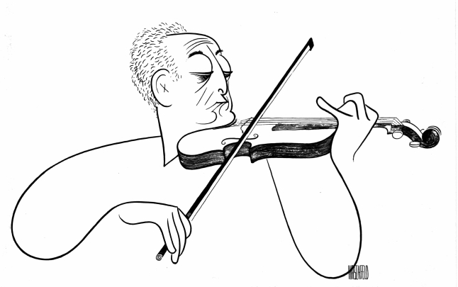 Jascha Heifetz caricature by Al Hirschfeld. Credit: Courtesy of Margo Feiden Gallery