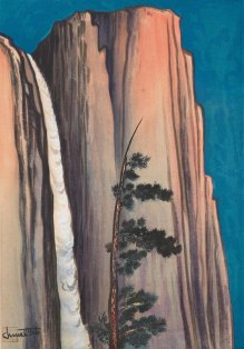 Chiura Obata (1885–1975), Evening Glow of Yosemite Fall, 1930. Woodblock print; Sheet: 17 7/8 × 13 1/8 in. (45.4 × 33.3 cm), Image: 15 7/16 × 10 7/8 in. (39.2 × 27.6 cm). Whitney Museum of American Art, New York; gift of Gyo Obata 2014.280. © Gyo Obata