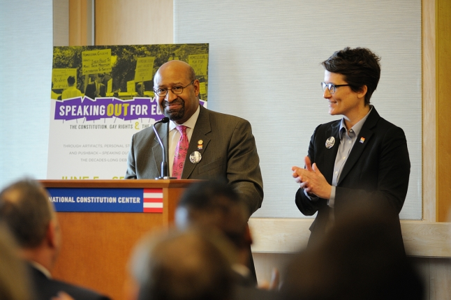 Philadelphia Mayor Michael Nutter and Nellie Fitzpatrick, Director of LGBT Affairs, speak at the Speaking Out for Equality press conference on March 10, 2015.