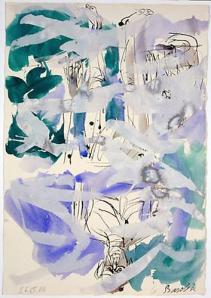 Georg Baselitz Ohne Titel (Mann im Mond-Franz Pforr-Remix) (11.III.06), Unititled (Man in the Moon-Franz Pforr), 2006 feather pen and indian ink on paper 29 x 19 5/8 inches (73.7 x 49.8 cm.)