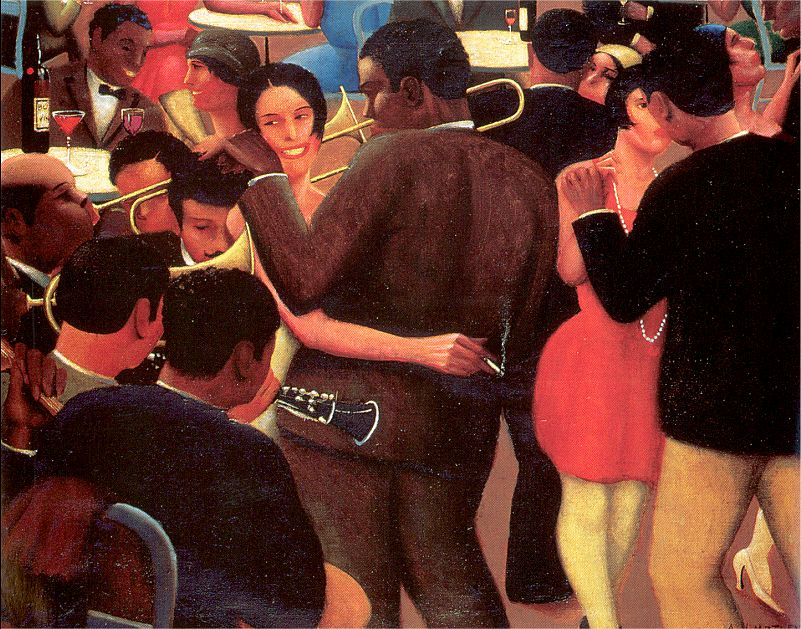 Archibald J. Motley Jr., Blues, (detail), 1929. Oil on canvas, 36 x 42 inches (91.4 x 106.7 cm). Collection of Mara Motley, MD, and Valerie Gerrard Browne. Image courtesy of the Chicago History Museum, Chicago, Illinois. © Valerie Gerrard Browne.