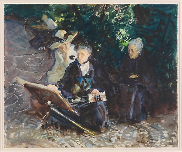John Singer Sargent (American, Florence 1856–1925 London) In the Generalife, 1912 American,  Watercolor, wax crayon, and graphite on white wove paper; 14 3/4 x 17 7/8 in. (37.5 x 45.4 cm) The Metropolitan Museum of Art, New York, Purchase, Joseph Pulitzer Bequest, 1915 (15.142.8) http://www.metmuseum.org/Collections/search-the-collections/12116
