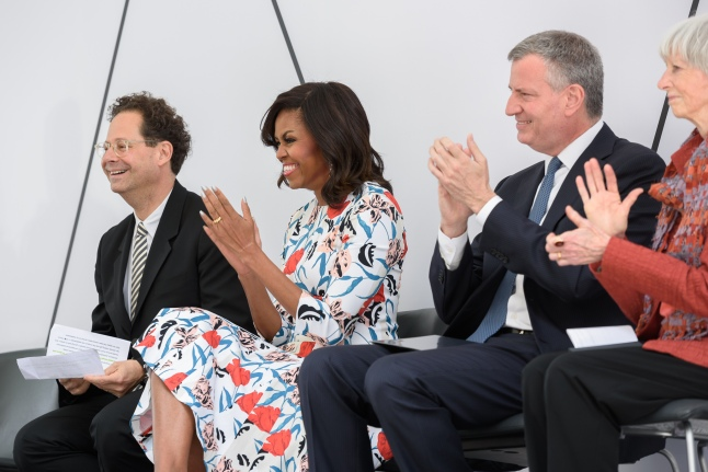 (Left to Right) Adam D. Weinberg Alice Pratt Brown Director of the Whitney Museum of American Art; Michelle Obama First Lady of the United States of America; The Honorable Bill de Blasio Mayor of the City of New York; and Flora Miller Biddle Honorary Chairman of the Board of Trustees of the Whitney Museum of American Art and granddaughter of Gertrude Vanderbilt Whitney at the dedication ceremony and ribbon-cutting of the (new) Whitney Museum of American Art, Thursday, April 30th ((Photograph by Filip Wolak and provided by The Whitney Museum of American Art)