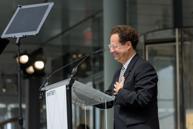 Adam D. Weinberg, the Alice Pratt Brown Director of the Whitney speaking at the dedication ceremony and ribbon-cutting of the (new) Whitney Museum of American Art, Thursday, April 30th ((Photograph by Filip Wolak and provided by The Whitney Museum of American Art)