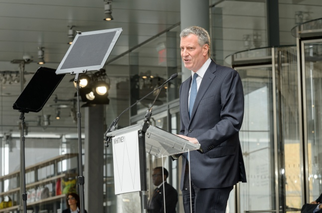 New York City Major Bill de Blasio speaking at the dedication ceremony and ribbon-cutting of the (new) Whitney Museum of American Art, Thursday, April 30th ((Photograph by Filip Wolak and provided by The Whitney Museum of American Art)