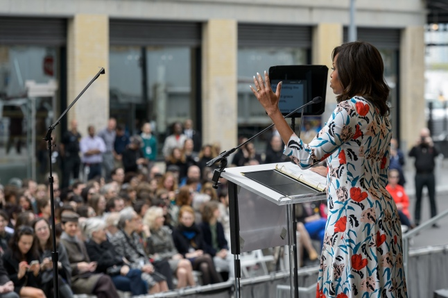 The First Lady of the United States  of America Michelle Obama speaking at the dedication ceremony and ribbon-cutting of the (new) Whitney Museum of American Art, Thursday, April 30th ((Photograph by Filip Wolak and provided by The Whitney Museum of American Art)