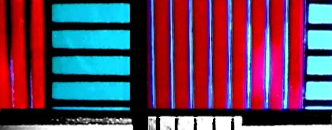 Photo: Film still of Lis Rhodes, Dresden Dynamo, 1971-72, 16mm, color, sound, 5 mins.