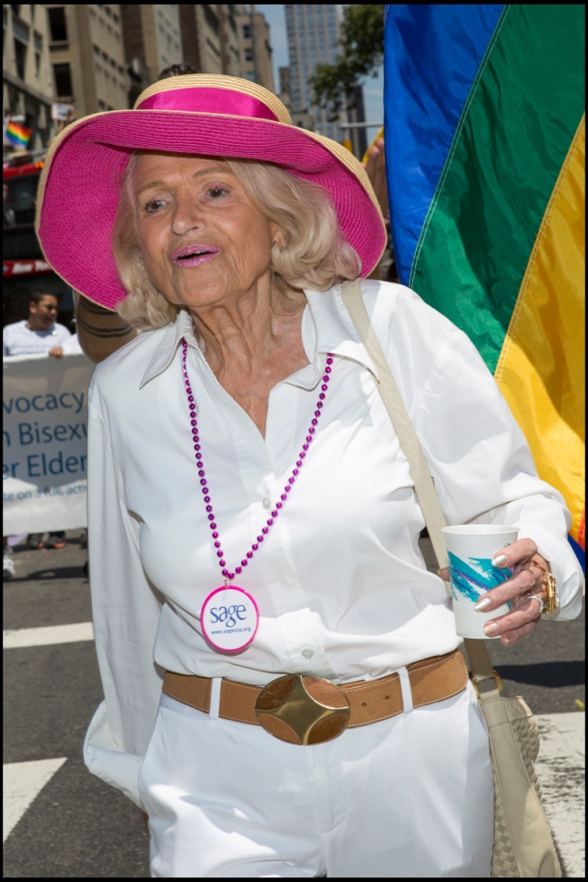 Edie Windsor at the 2014  New York City Pride March. Photo Credit: from David Studinski (NYC Pride)
