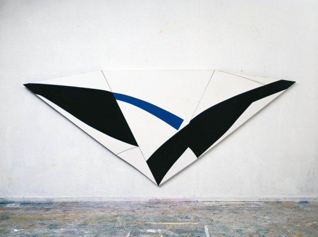 TREVOR BELL: Thrust, 1968, Oil on board, 66 x 154 in