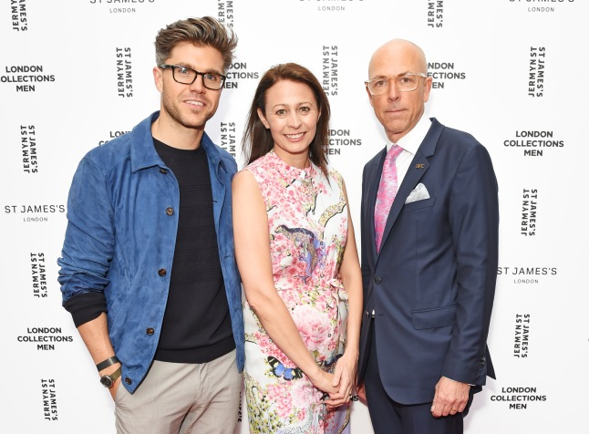 (L to R) Collection Stylist Darren Kennedy, British Fashion Council CEO Caroline Rush (L) and British GQ editor Dylan Jones attend the Jermyn Street St James's catwalk show for London Collections Men Spring/Summer 2016 Fashion Shows on June 13, 2015 in London, England.  (Photo by David M. Benett/Getty Images for The Crown Estate) *** Local Caption *** Darren Kennedy; Caroline Rush; Dylan Jones