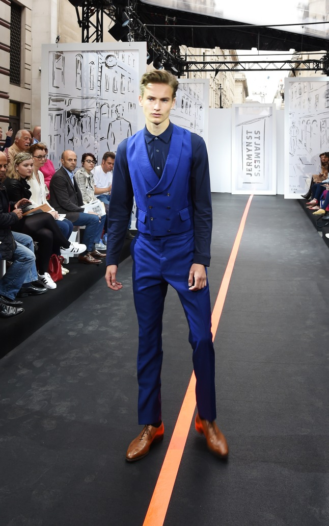 A model walks the runway wearing look 10 (Waistcoat/trousers: Favourbrook Shirt: Sunspel Shoes: Crockett & Jones) the Jermyn Street St James's catwalk show for London Collections Men on June 13, 2015 in London, England.  (Photo by David M. Benett/Getty Images for The Crown Estate)
