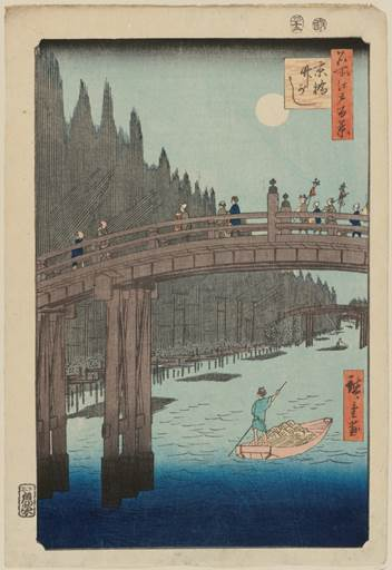 Bamboo Yards, Kyobashi Bridge, from the series One Hundred Famous Views of Edo, 1857, by Utagawa Hiroshige (Japanese, 1797–1858). Woodblock print; ink and color on paper. Museum of Fine Arts, Boston, William Sturgis Bigelow Collection, 11.26350. Photograph © 2015, MFA, Boston.