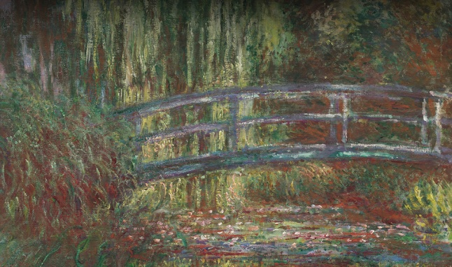 The water lily pond, 1900, by Claude Monet (French, 1840–1926). Oil on canvas. Museum of Fine Arts, Boston, Given in memory of Governor Alvan T. Fuller by the Fuller Foundation, 61.959. Photograph © 2015, MFA, Boston. Right: Bamboo Yards,