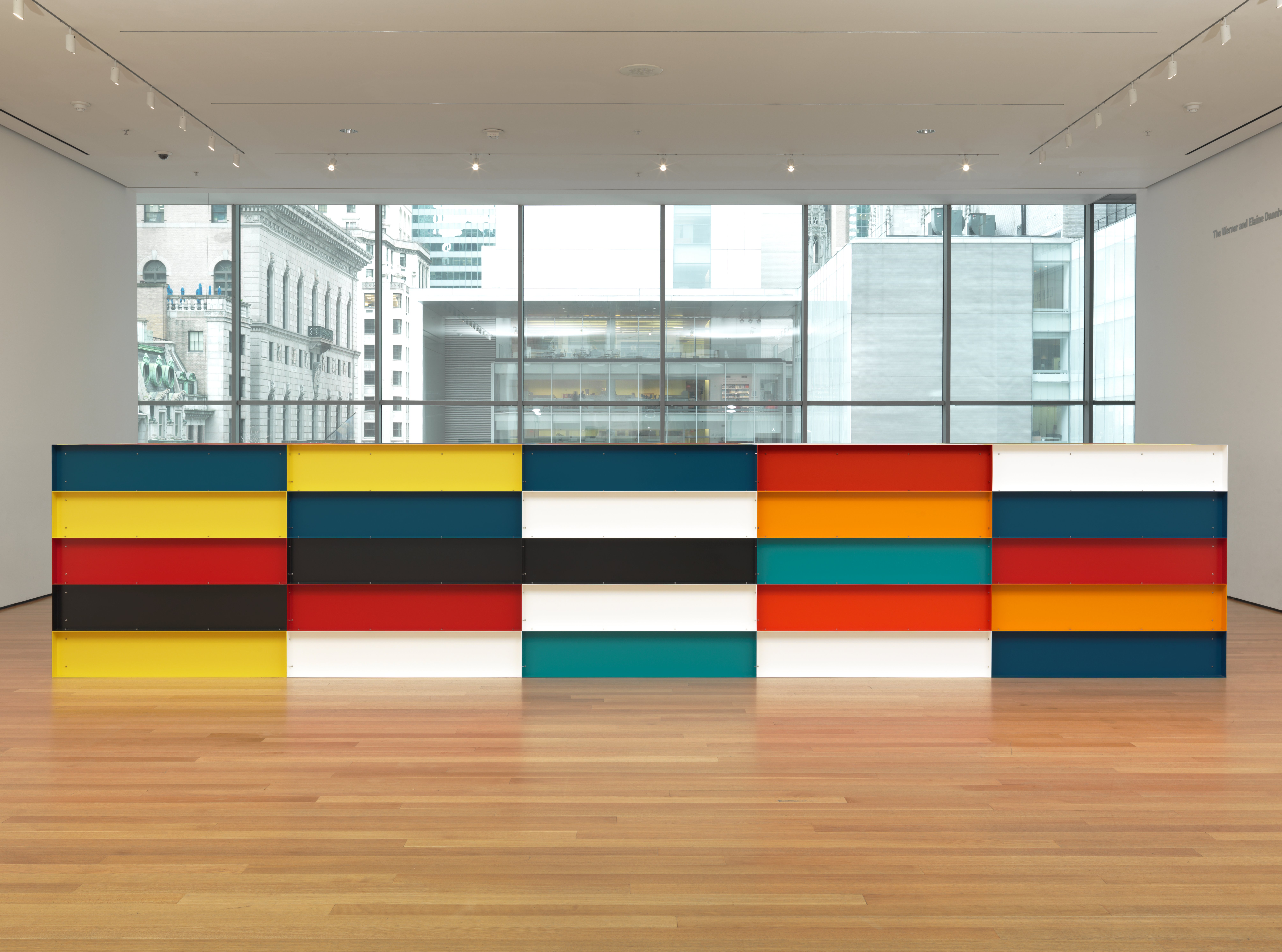 Donald Judd (American, 1928–1994). Untitled. 1991. Painted aluminum, 59″ x 24′ 7 1/4″ x 65″ (150 x 750 x 165 cm) Bequest of Richard S. Zeisler and gift of Abby Aldrich Rockefeller (both by exchange) and gift of Kathy Fuld, Agnes Gund, Patricia Cisneros, Doris Fisher, Mimi Haas, Marie-Josée and Henry R. Kravis, and Emily Spiegel. © Judd Foundation, licensed by VAGA, New York