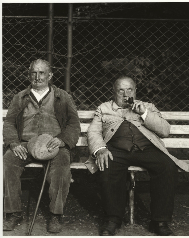August Sander, German, 1876–1964 Blind Miner and Blind Soldier, c. 1930 from People of the 20th Century: Idiots, the Sick, the Insane and Dying Gelatin silver print, 10 3/16 × 7 3/8″ (25.8 × 18.7 cm) The Museum of Modern Art, New York Acquired through the generosity of the Sander family
