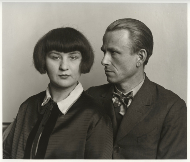 August Sander, German, 1876–1964 The Painter Otto Dix and his Wife Martha, 1925-26 from People of the 20th Century: Woman and Man Gelatin silver print, approx. 7 3/8 × 10 3/16″ (18.7 × 25.8 cm) The Museum of Modern Art, New York Acquired through the generosity of the Sander family