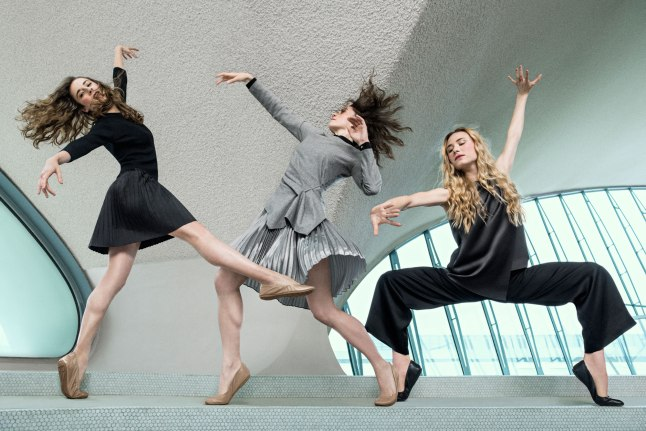 PREPARE FOR TAKEOFF  WITH GRETCHEN SMITH, MEGAN FAIRCHILD, SARA MEARNS WEARING THE ZerøGrand Stagedoor Ballet Flat FROM THE  the Studio Grand Ballet Collection for women.