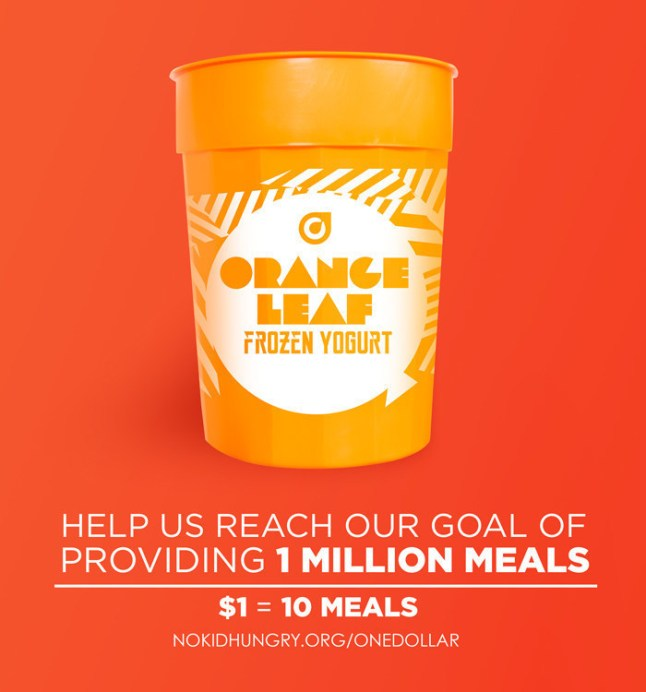 Purchase this collectible cup for $1 at any of Orange Leaf Frozen Yogurt's more than 300 participating locations and proceeds will go to No Kid Hungry to help end childhood hunger in America. (PRNewsFoto/Orange Leaf Frozen Yogurt)