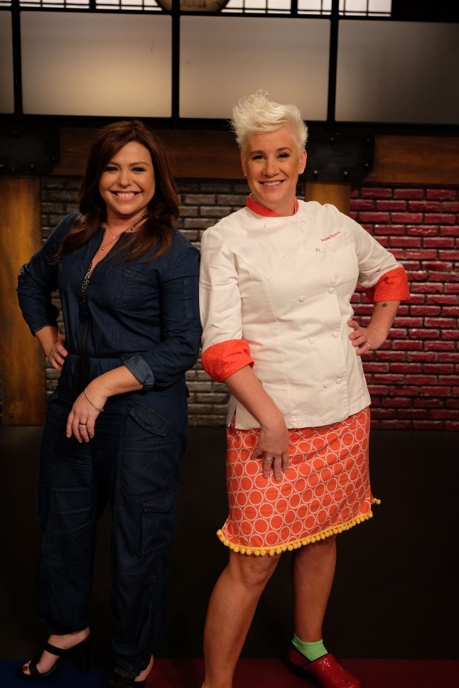 Hosts Rachael Ray, and Chef Anne Burrell during Food Network's Worst Cooks In America Celebrity Edition, Season 7. (Image courtesy of Food Network)
