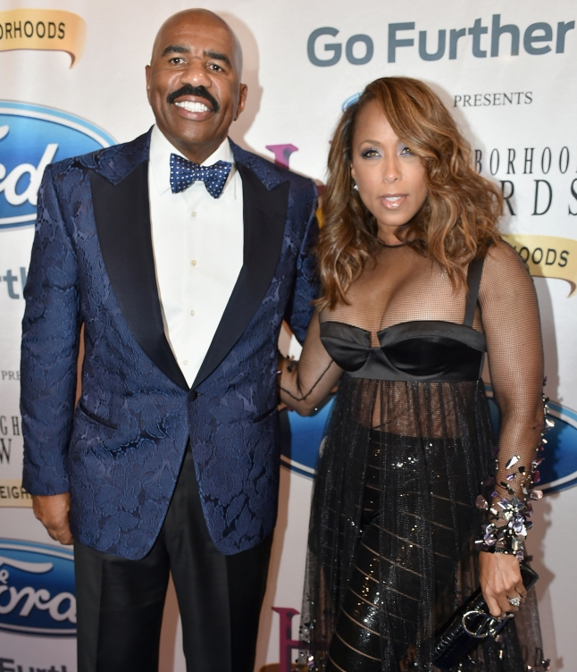 Steve Harvey and Marjorie Bridges-Woods attend the 2015 Ford Neighborhood Awards Hosted By Steve Harvey at Phillips Arena on August 8, 2015 in Atlanta, Georgia.  (Photo by Moses Robinson/Getty Images for Neighborhood Awards)