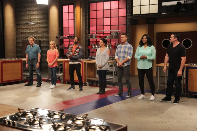 Contestants Barry Williams, Chris Soules, Dean Cain, Ellen Cleghorne, Jaleel 'Urkel' White, Jwoww, and Kendra Wilkinson with hosts Rachael Ray, and Chef Anne Burrell during Food Network's Worst Cooks In America Celebrity Edition, Season 7.