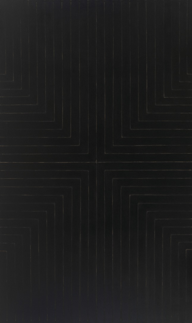 Frank Stella.   Die Fahne hoch!,   1959.  Enamel on canvas, 121 5/8 x 72 13/16 in.  Whitney  Museum of American Art, New York; gift of Mr. and Mrs. Eugene M. Schwartz and purchase, With funds from the John I.H. Baur Purchase Fund; the Charles and Anita Blatt Fund; Peter M. Brant; B.H. Friedman ; the Gilman Foundation, Inc.; Susan Morse Hilles; The Lauder Foundation;  Frances and Sydney Lewis; the Albert A. List Fund; Philip Morris Incorporated; Sandra Payson;  Mr. and Mrs. Albrecht Saalfied; Mrs. Percy Uris; Warner Communications, Inc. and the National Endowment for the Arts  75.22  © 2014 Frank Stella / Artists Rights Society (ARS), New York