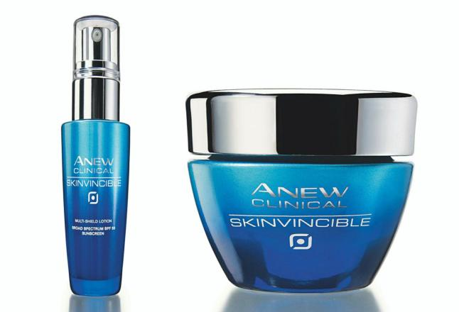 Avon's ANEW Clinical Skinvincible Multi-Shield Lotion Broad Spectrum SPF 50 and ANEW Clinical Skinvincible Deep Recovery Cream ($36 each available through an Avon representative or www.avon.com)