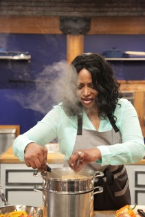 Contestant Ellen  Cleghorne, in the kitchen during Food Network's Worst Cooks In America Celebrity Edition, Season 7.