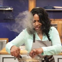 Contestant Ellen Cleghorne, in the kitchen during Food Network's Worst Cooks In America Celebrity Edition, Season 7.