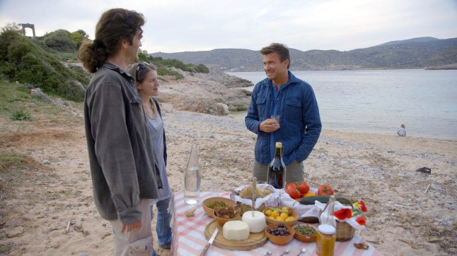 Host Jack Maxwell enjoys Souma, a seasonal brandy made from figs, in Chios during a picnic with Vasillis Ballas and his family.
