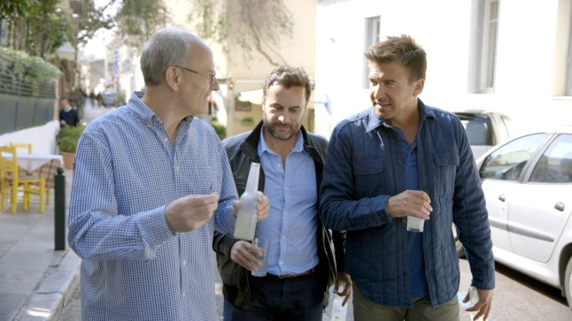 Booze Traveler, Season Two, Episode One: Host Jack Maxwell (r.) walks the streets of Athens with Yamas creators Dimitris Mitrakos (c.) and John Mitrakos.