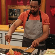 Contestant Jaleel 'Urkel' White in the kitchen during Food Network's Worst Cooks In America Celebrity Edition, Season 7.