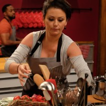 Contestant Jwoww, in the kitchen during Food Network's Worst Cooks In America Celebrity Edition, Season 7.
