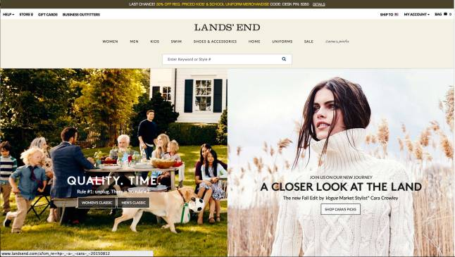 The new Landsend.com opening page