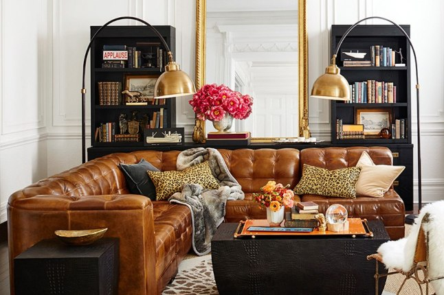 The Dylan quilted leather armless sectional is crafted from full-grain Italian leather.